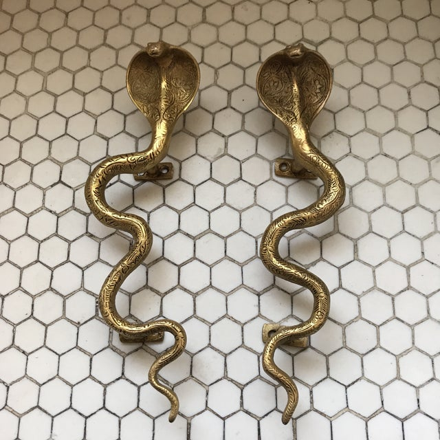 Gold Brass Cobra Door Handles- a Pair - Image 2 of 11