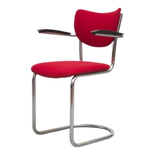 Gispen Red Fabric & Chrome Office Chair