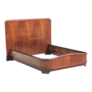 "French Art Deco Exotic Walnut With Cherry Wood Bed by ""Majorelle Nancy."" Circa 1930s."