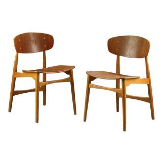 Danish IB Kofod Larsen Teak & Oak Chairs - Pair