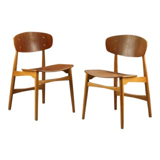 Danish IB Kofod Larsen Teak & Oak Chairs - Pair