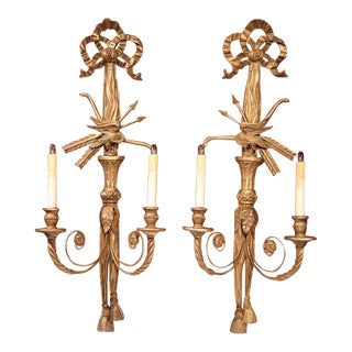 19th Century French Louis XVI Carved Sconces - A Pair