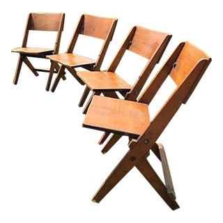 Antique Wooden Folding Jury Box Chairs - Set of 4