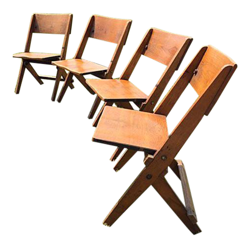 antique wooden folding jury box chairs set of 4