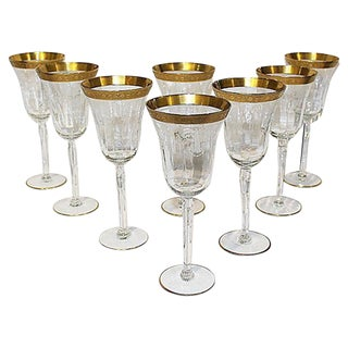 Etched Gilt Wine Stems - Set of 8