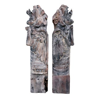 Pair of Carved Wood Griffin Eaves By Bernard Maybeck