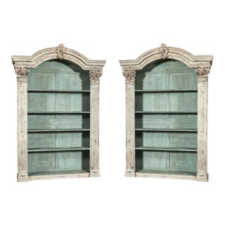 Louis XIV French Carved Painted Bookcases - A Pair
