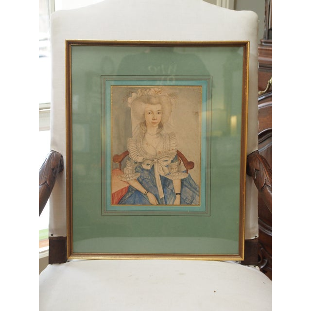 18th Century Style Watercolor Portrait of a Young Lady - Image 2 of 6