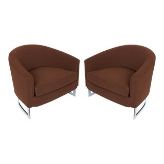 Milo Baughman Brown Barrel Back Lounge Chairs - a Pair