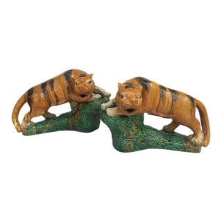 Chinese Majolica Glaze Terracotta Tigers - A Pair