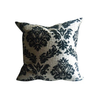 Silk Pillow With Black Gothic Design and Pintucks