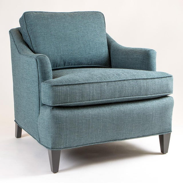 Teal Woven Armchairs - Pair - Image 3 of 10