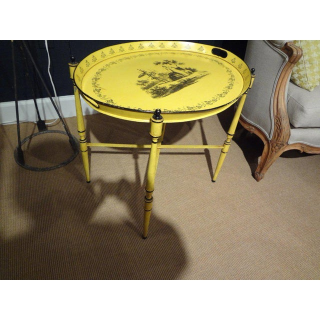 Italian Neoclassical Style Tole Tray Table - Image 3 of 7