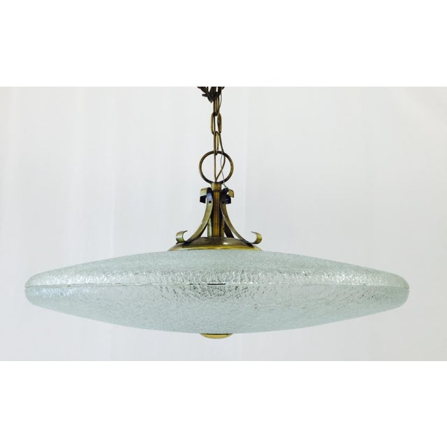 Vintage Mid-Century Glass & Brass Disk Pendant Light - Image 2 of 11