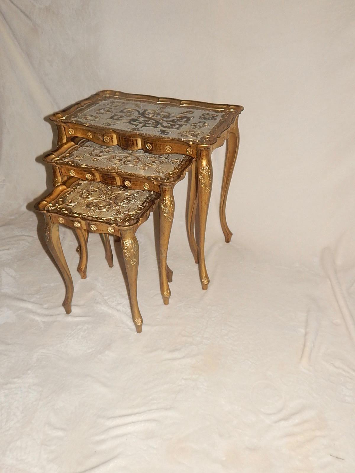 Molded Plastic Italian Florentine Nesting Tables   Set Of 3   Image 5 Of 8