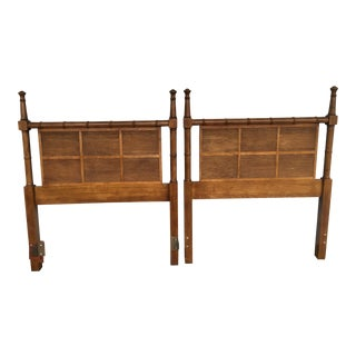 Dixie Solid Wood Faux Bamboo Twin Beds - A Pair