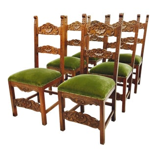 Carved Shell Back Green Velvet Dining Chairs - Set of 6