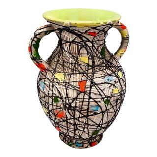 Mid-Century Fratelli Fanciullacci Italian Art Pottery Vase With Handles