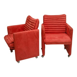 Pair of Coral Suede Channel Quilted Arm Chairs on Castors by Milo Baughman
