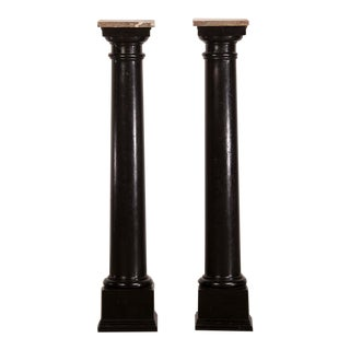 Neoclassical Pair Antique French Marble Top Ebonized Timber Pedestals, circa 1875