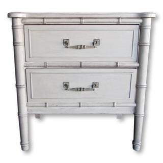 Refurbished Faux Bamboo Nightstand With Drawers