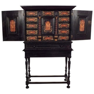 19th Century Dutch Ebonized Cabinet w/Stand