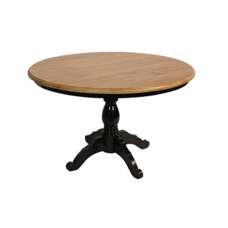 Round Reclaimed Wood Black Dining Table