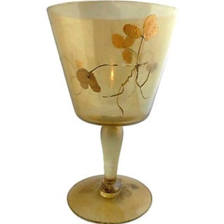 Art Nouveau Gold Leaf Pedestal Container