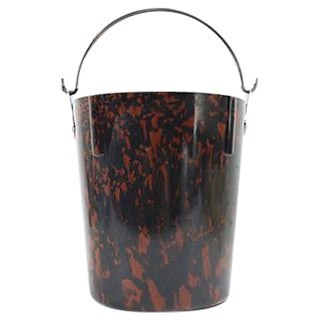 Bakelite Vintage 1950s Brown Marbled Ice Bucket