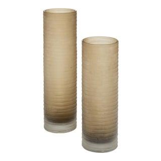 Murano Glass 'Battuto' Smoked Vases