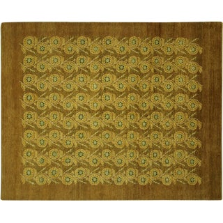 "Gold & Brown Floral Gabbeh Rug - 7'10"" x 9'9"""