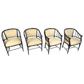 Mid-Century Modern Bamboo Style Dining Chairs- Set of 4
