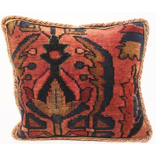 Antique Sarouk Rug Fragment Pillow