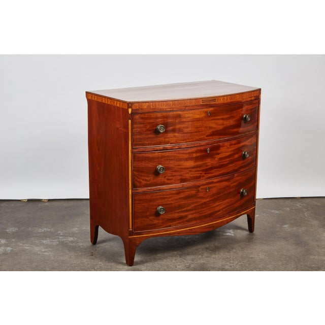 Image of English 19th Century Medium Brown Mahogany Bow Front Chest of Drawers with Inlay