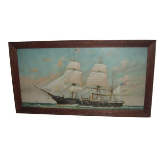Framed Lithograph of U.S. Ship