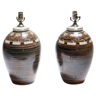Signed Petteford Studio Pottery Lamps - A Pair