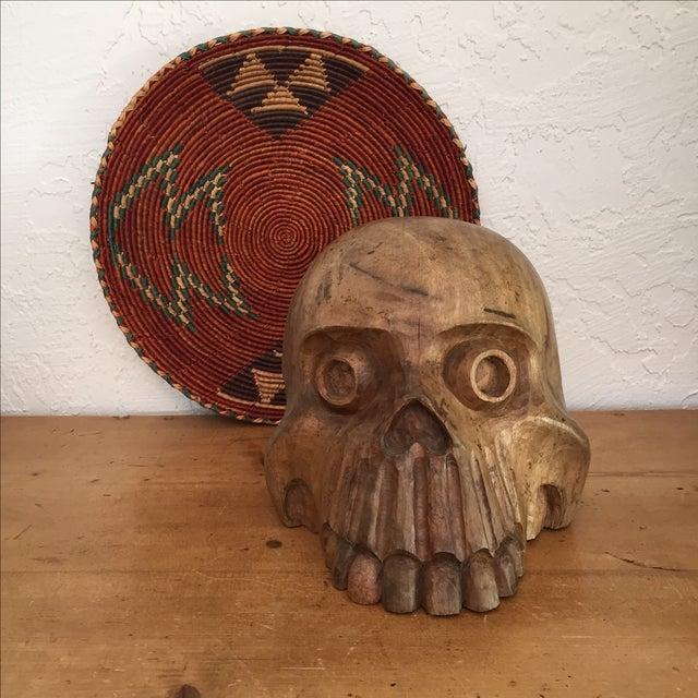 Image of Vintage Paper Mache Mold Wood Skull