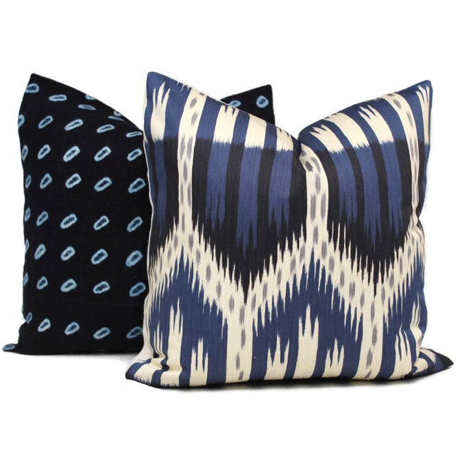 "20"" x 20"" Schumacher Bukhara Ikat Decorative Pillow Cover - Image 3 of 3"