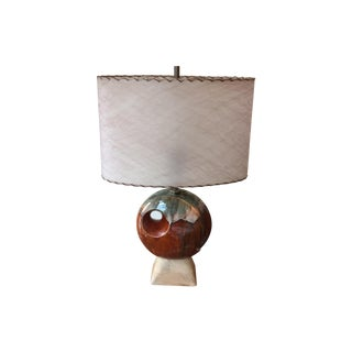 Mid Century Lamp & Oval Fiberglass Shade