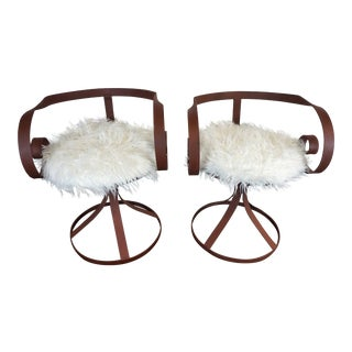 Sultana Style Metal & Faux Fur Chairs - A Pair