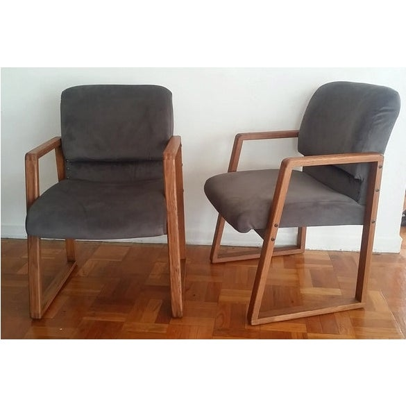 Mid-Century Modern Grey Cube Club Armchairs - Pair - Image 2 of 6