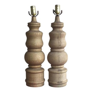 Vintage Wooden Table Lamps - a Pair