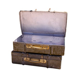 World War II Aluminum Luggage - A Pair