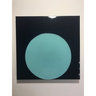 "Stephanie Henderson ""Glossy Pool Blue Dot on Navy"" Painting"