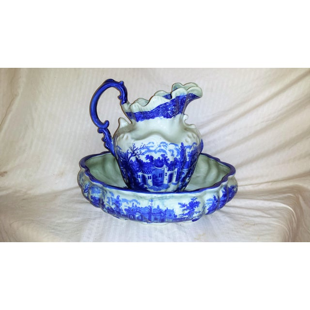 Vintage Chinese Flow Blue Pitcher & Wash Basin - A Pair - Image 3 of 10