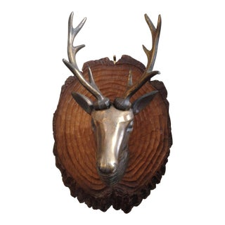 English Brass Deer Mount on Wood