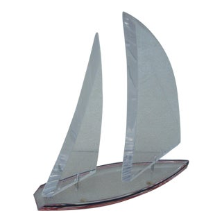 Modern Lucite Sailboat Sculpture