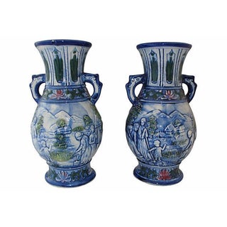 Blue & White Vases with Handles - A Pair