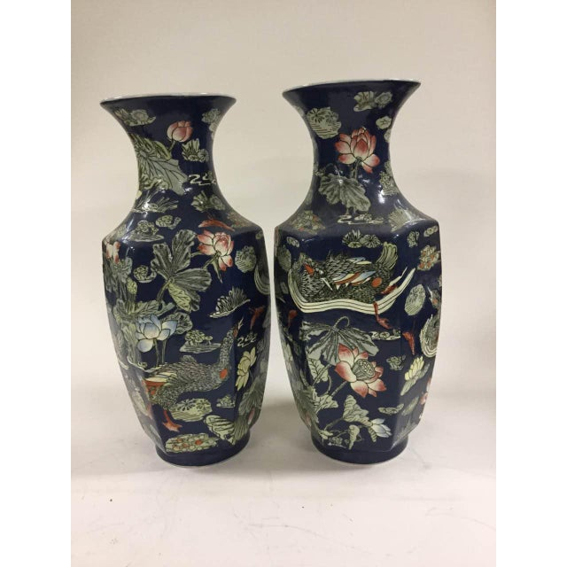 Blue Vases with Goose/ Lotus - A Pair - Image 2 of 6