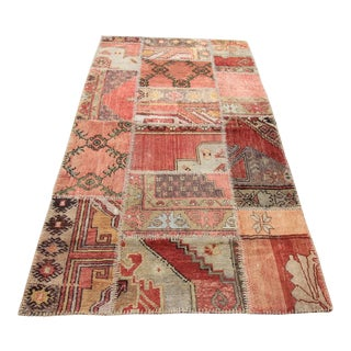 Vintage Turkish Patchwork Oushak Rug - 3′10″ × 7′1″